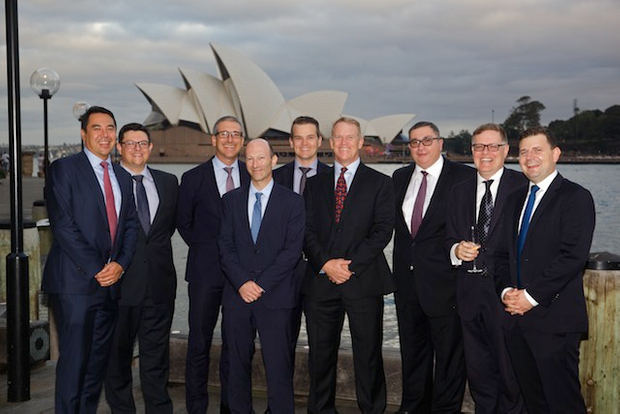 NAB execs gather outside the Park Hyatt for a team photo
