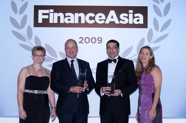 Citi's Rodrigo Zorrilla and Gaurang Hattangdi received the awards for Best Bank and Best Commercial Bank from FinanceAsia'a Anette Jönsson and Lara Wozniak